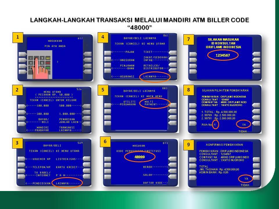 Pembayaran Order via ATM Mandiri